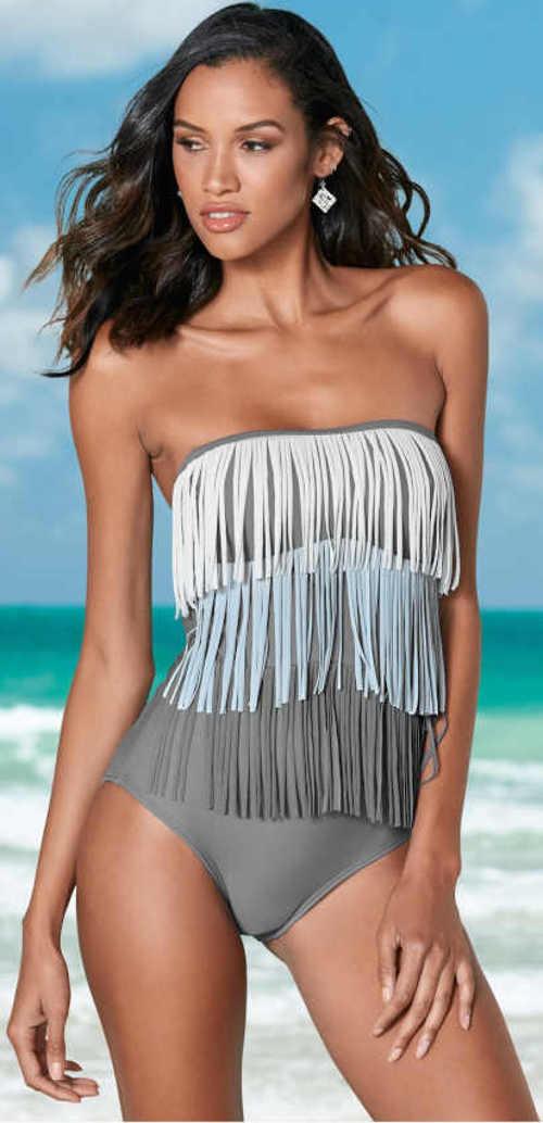 Plavky v rafinovanom strihu so strapcami a odnímateľnými ramienkami