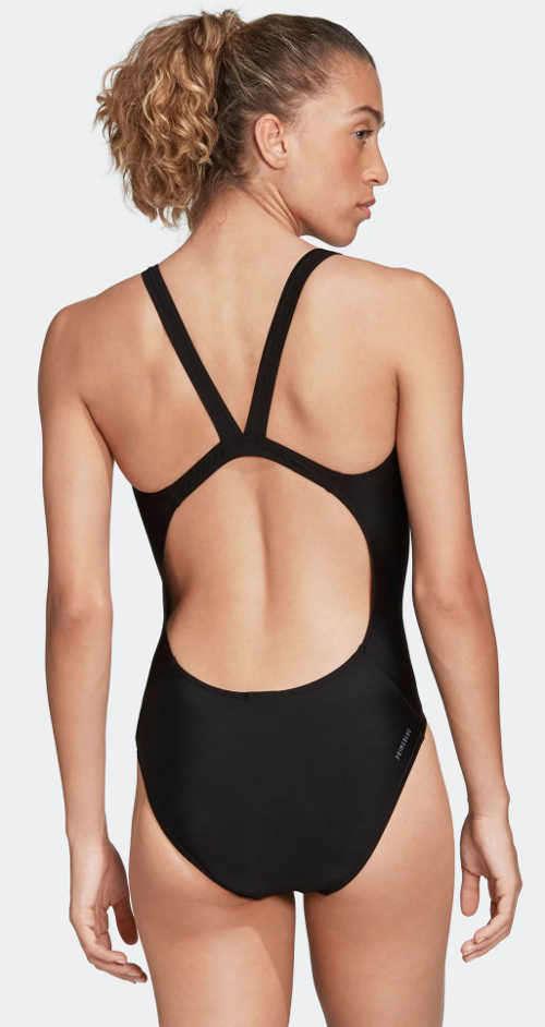 Čierne dámske jednodielne plavky Adidas so športovým prekrížením na chrbte