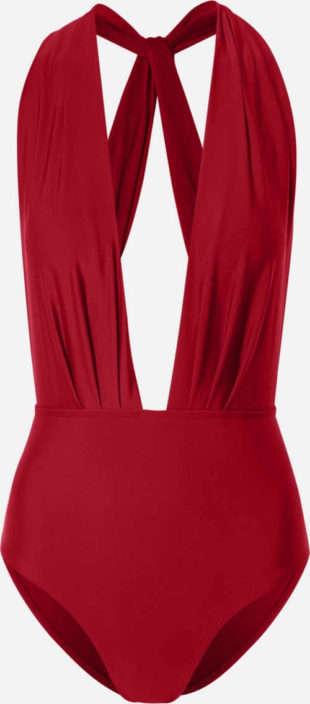 Červené dámske jednodielne plavky s hlbokým výstrihom