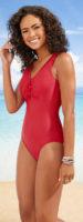 Červené jednodielne plavky s výstrihom na patentky