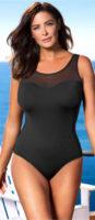 Čierne jednodielne plavky s podprsním pásom pre pevné držanie pŕs
