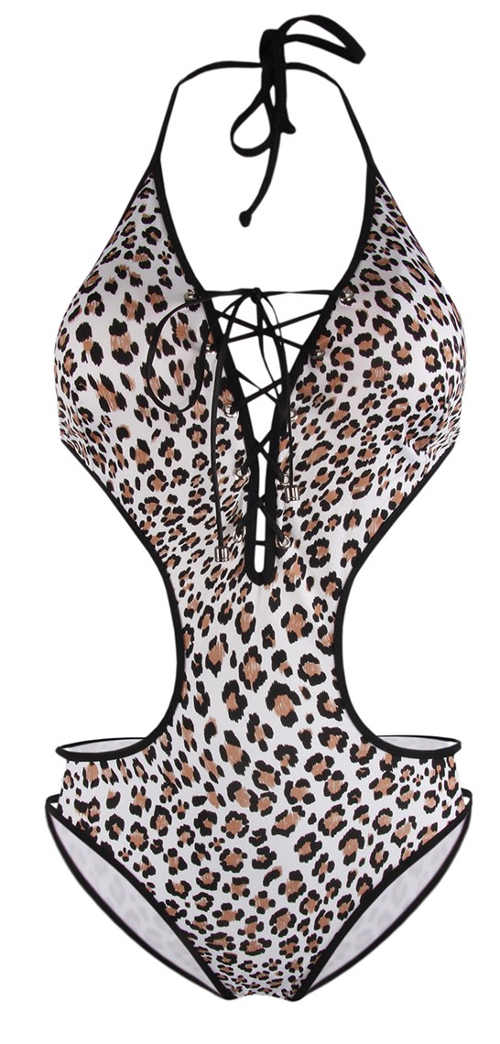 Leopardie dámske jednodielne plavky s hlbokým výstrihom so šnurovaním