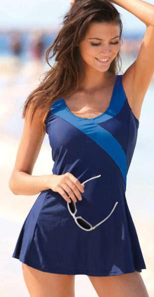 Originálne zeštíhlujcí jednodielne plavky so sukničkou