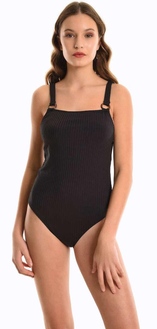Rebrované plavky s kovovými krúžkami a dlhšími ramienkami