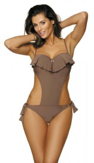 Trendy jednodielne plavky s volánikom cez prsia