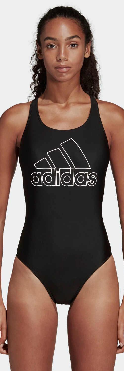 Čierne športové jednodielne plavky Adidas s nevystuženými košíčkami