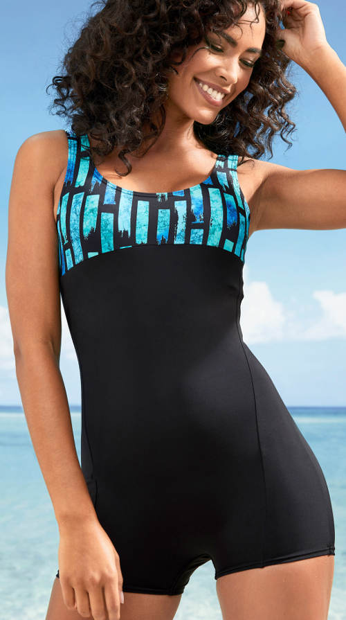 Čierno-modré nohavičkové jednodielne plavky