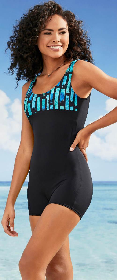 Nohavičkové jednodielne dámske retro plavky