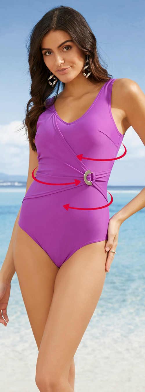 Sťahovacie jednodielne plavky zavinovacieho strihu do spony