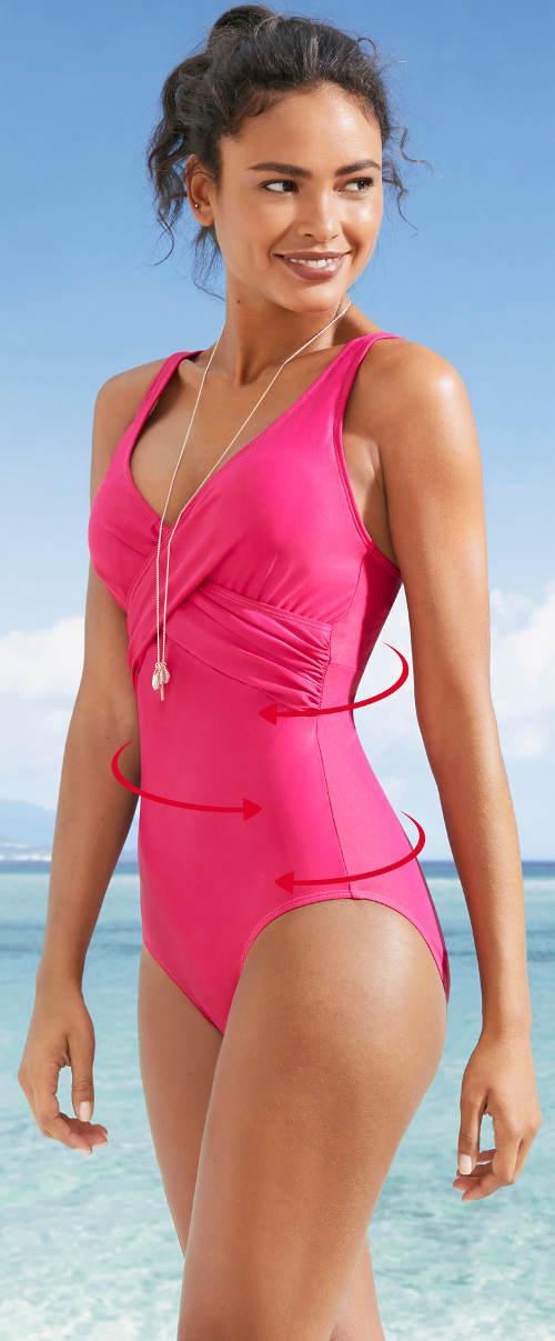 Jednofarebné dámske plavky so sťahovacím prekrížením pod prsiami