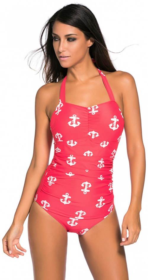 Ružové námornícke plavky pre plnšie tvary