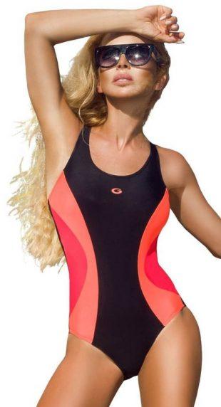 Športové jednodielne plavky s neónovými akcentmi