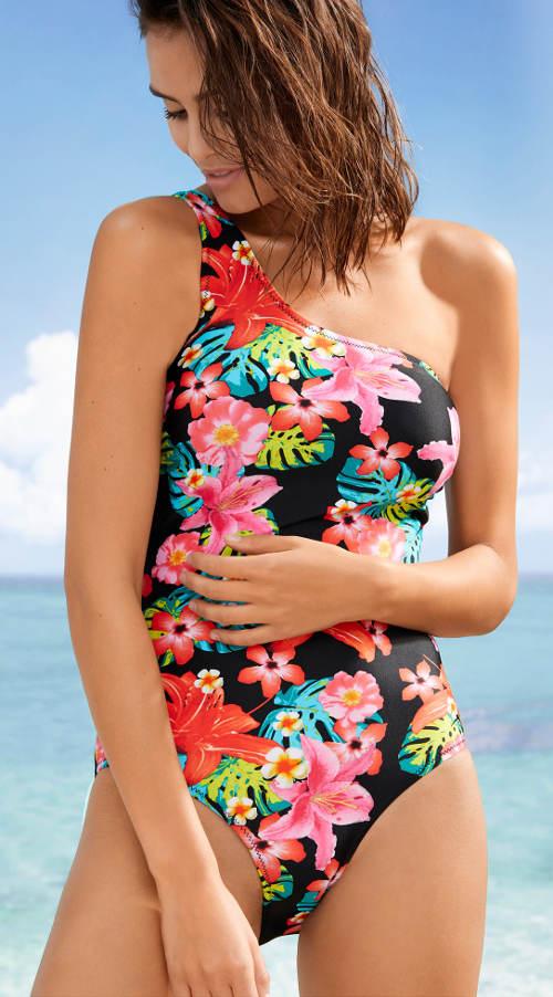 Bonprix kvetinové dámske plavky na jedno rameno