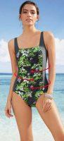 Elastické antracitové plavky s kvetinovou potlačou
