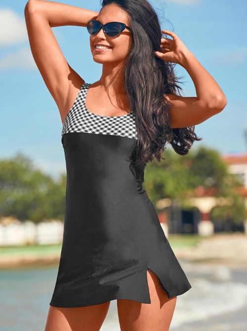 Jednodielne moderné plavky so sukňou v čiernej farbe
