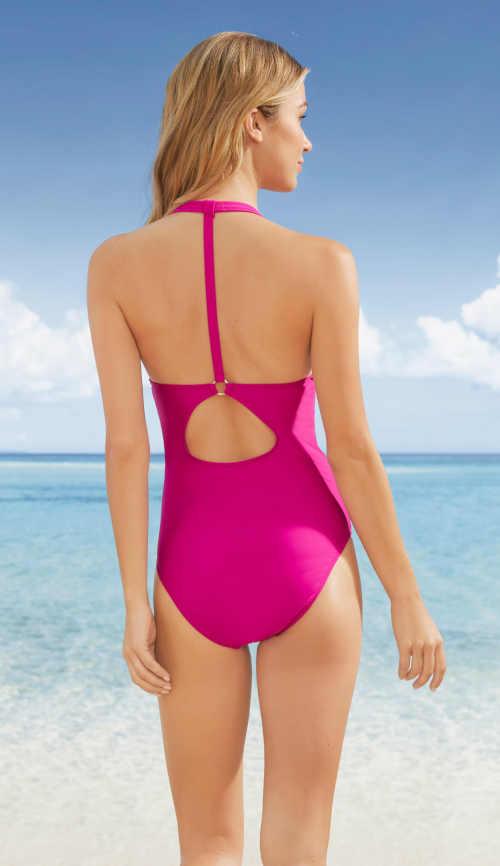 Jednodielne plavky vo fuchsiovej farbe