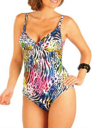 Jednodielne viacfarebné plavky s kosticami v klasickom dizajne