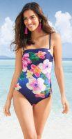 Kvetinové jednodielne plavky s bandeau vrchným dielom