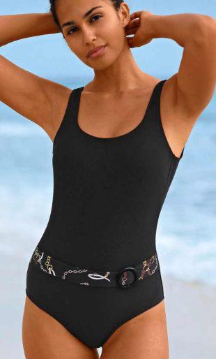 Čierne dámske jednodielne plavky s opaskom