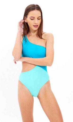 Štýlové plavky na jedno rameno v dvojfarebnom dizajne