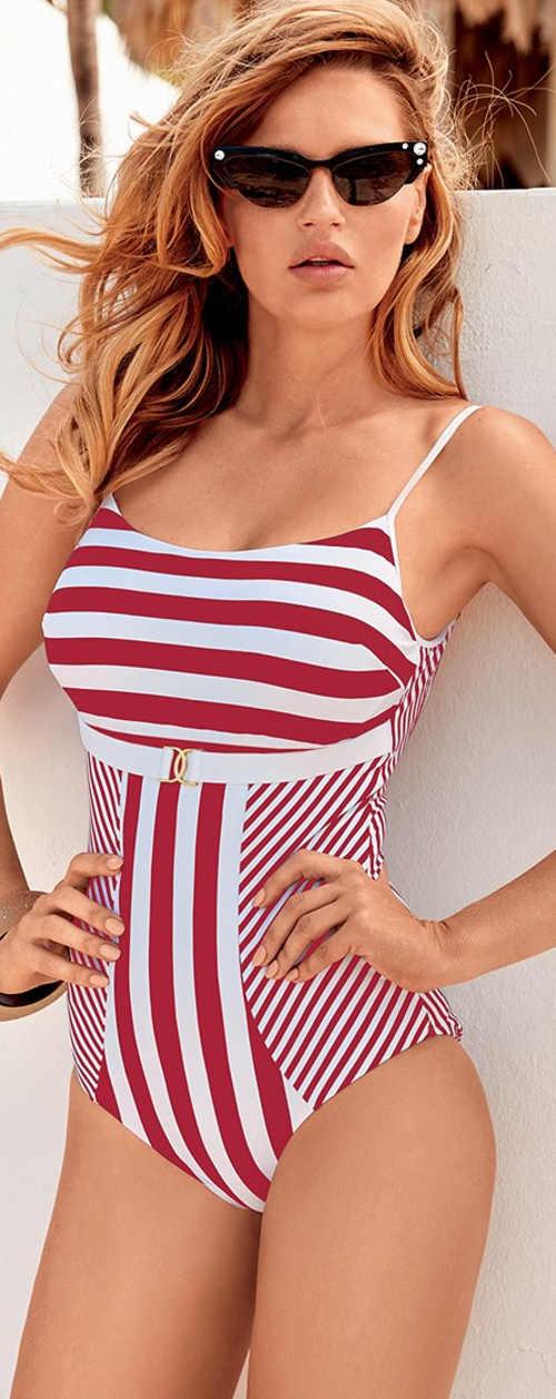 Červeno-biele dámske jednodielne plavky s námorníckymi retro pruhmi