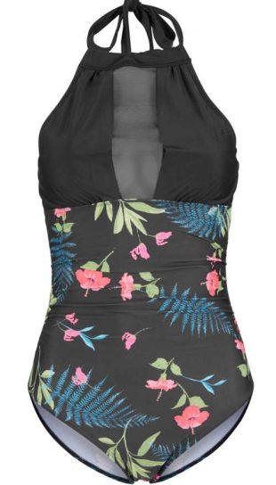 Čierne plavky s kvetinovým vzorom a pôsobivou sieťovanou vložkou