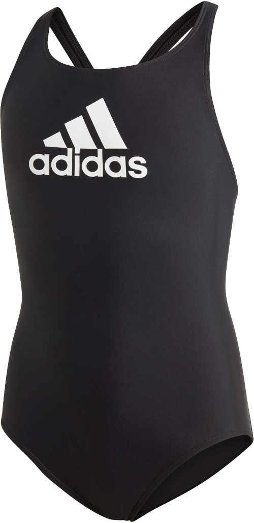 Kvalitné dievčenské športové plavky Adidas v čiernej a bielej farbe