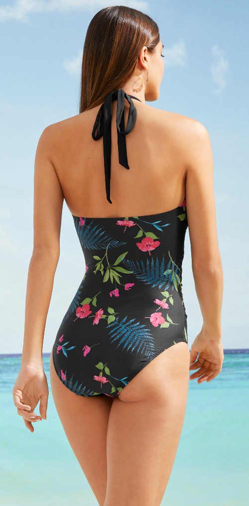 Módne plavky s kvetinovým vzorom a vložkou