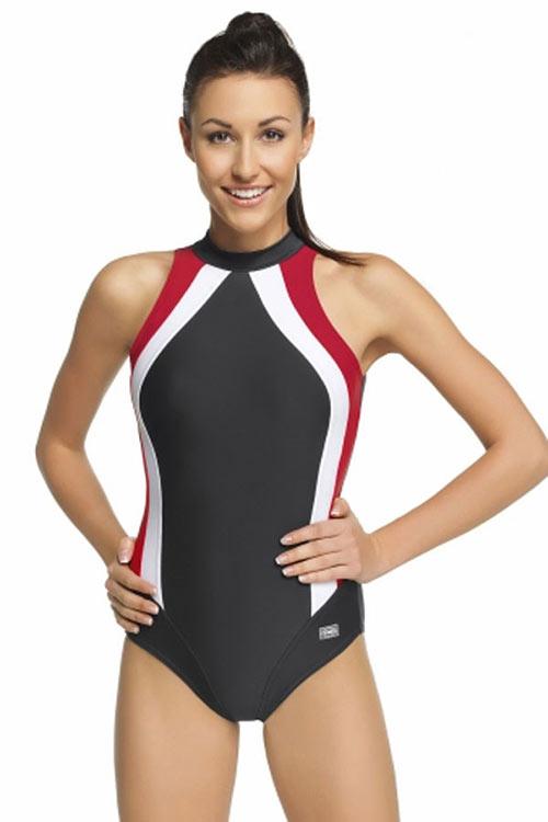 Športové plavky v sivej farbe s červenými a bielymi pruhmi