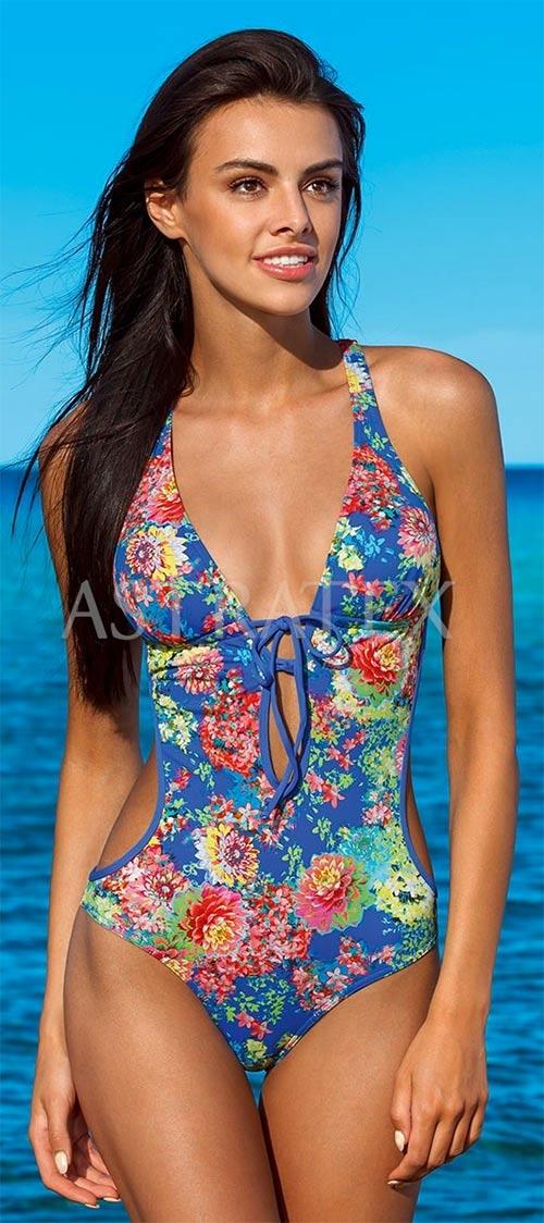 Modré jednodielne plavky s kvetinovým motívom